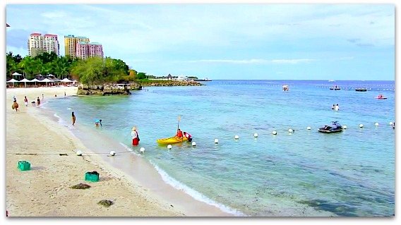 Beautiful and inviting Shangrilas Mactan Resort's beach on Mactan Island, Cebu.