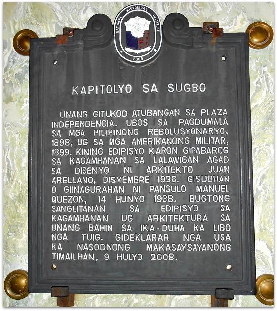 Cebu Provincial Capitol plaque in Cebuano language
