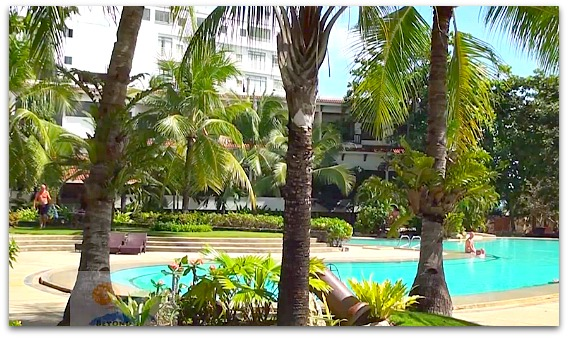 By the poolside watch the coconuts at Cebu White Sands & Spa, Mactan Island, Cebu, Philippines
