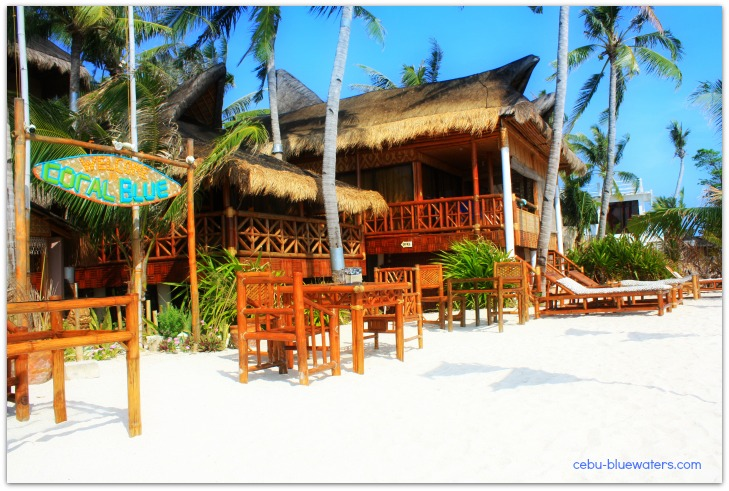 Coral Blue Oriental Beach Villas & Suites facing the blue sea of Bantayan Island in Cebu Province, the Philippines