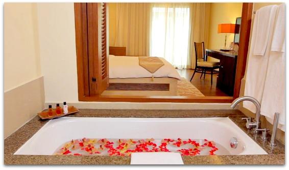 Crimson Hotel Beach Resort offers the best bathroom facilities on the island.