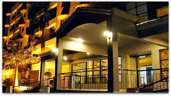 The frontview of Lancaster Hotel on Mactan Island, Cebu, Philippines. The island is a popular tourists destination.