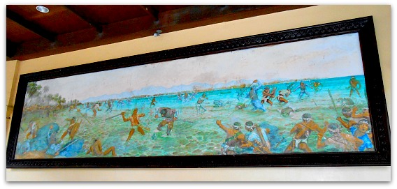 A painting depicting the famous Battle of Mactan than can be found within the shrine.