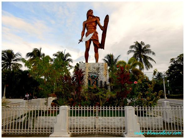 Lapu Lapu. He is the hero of the island protecting it from invaders. It is located on Mactan Island, Cebu, Philippines