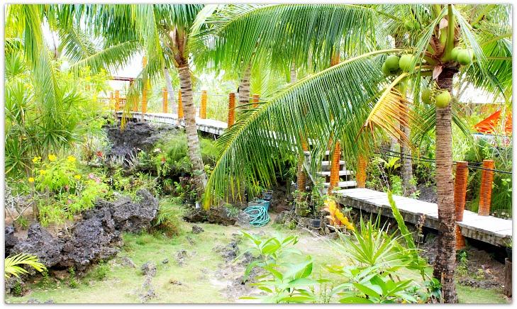 One face of the garden at Maia's Beach Resort, Basawon, Bantayan Island, Cebu