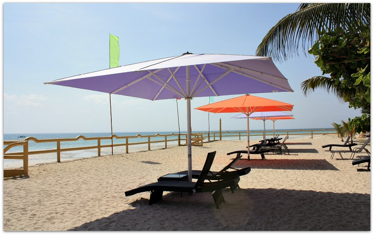 Beach loungers at Marlins Beach Resort & Restaurant, Bantayan Island, Cebu, Philippines