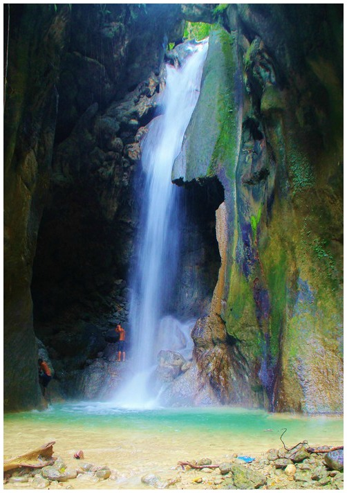Montaneza Falls in Malabuyoc, Cebu, Philippines. It is one of the popular falls being used for extreme adventures such as rappelling, etc.
