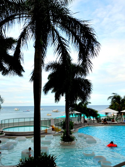 Mactan Island Beach Resort. This is a view of Movenpick resort from its lobby overlooking towards the sea.
