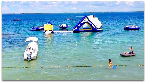 Portofino Beach Resort's water facilities on Mactan Island, Cebu, Philippines.