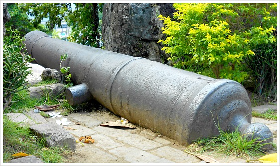 One of the cannons still on display at Fort San Pedro at the heart of Cebu City, Philippines