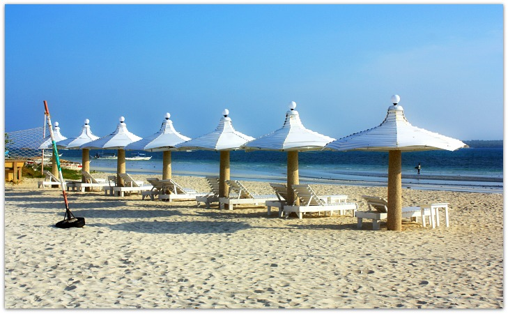 Sta Fe Beach Club Sunbathing Loungers & Umbrellas, Bantayan Island, Cebu, Philippines