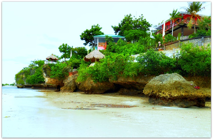 Low tide view of Santiago Bay Garden Resort in Camotes Islands, Cebu, Philippines