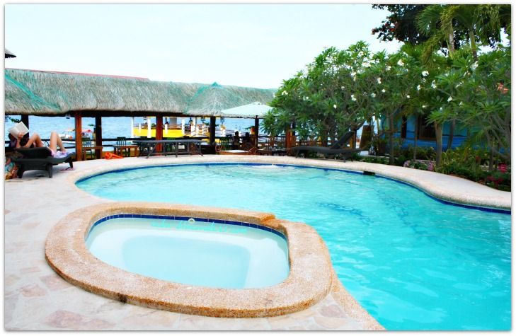 A resort swimming pool in Panagsama Beach, Moalboal, Cebu