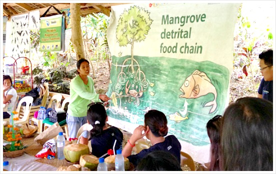 Lectures about mangrove, birds, and the environment is being provided during the Bojo River Ecotourism tour. Image Credit: www.iluvcebu.com