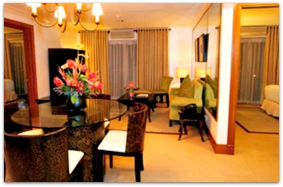 The receiving room of Crown Regency Suites and Residences on Mactan Island, Cebu