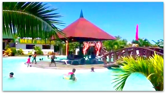 Photo shows the swimming pool of Green Lagoon Park resort in Compostela, Cebu, Philippines