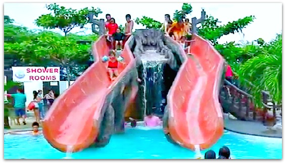 Water slides for children and kids are some of fun facilities at Green Lagoon Park in Compostela, Cebu, Philippines.