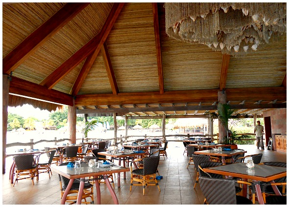 Maribago Bluewater Beach Resort Restaurant. It is the restaurant located close to the sea where one can enjoy the food while watching the water activities.