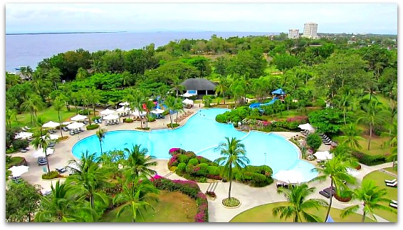 A beautiful panoramic view from Shangrilas Mactan Resort Hotel, Mactan Island, Cebu, Philippines.